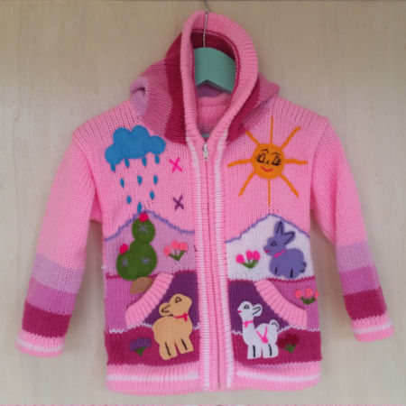 Super cute alpaca blend knitted kids' jacket from goodcreations.nz