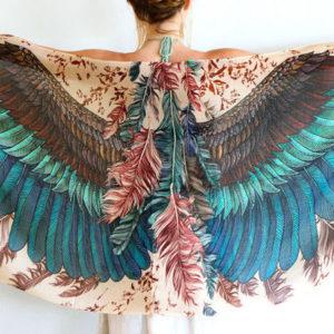 Stunning silk cashmere exotic bird feathers wrap