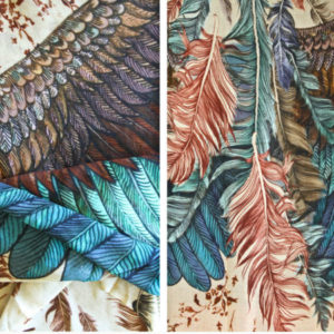 Stunning silk cashmere exotic bird feathers wrap