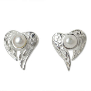 Winged Heart Sterling Silver and Pearl Button Earrings