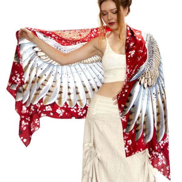 Gorgeous bohemian owl wrap in cherry red from goodcreations.nz