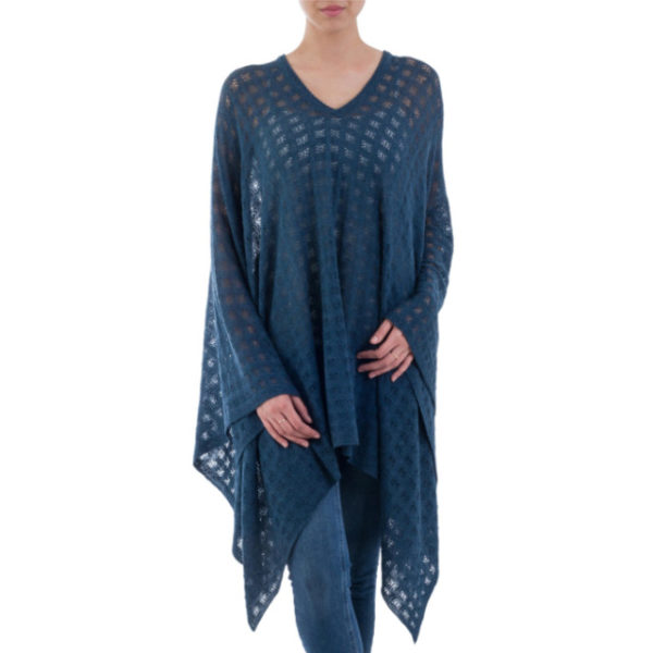 Blue Bohemian Style Alpaca Poncho from goodcreations.nz