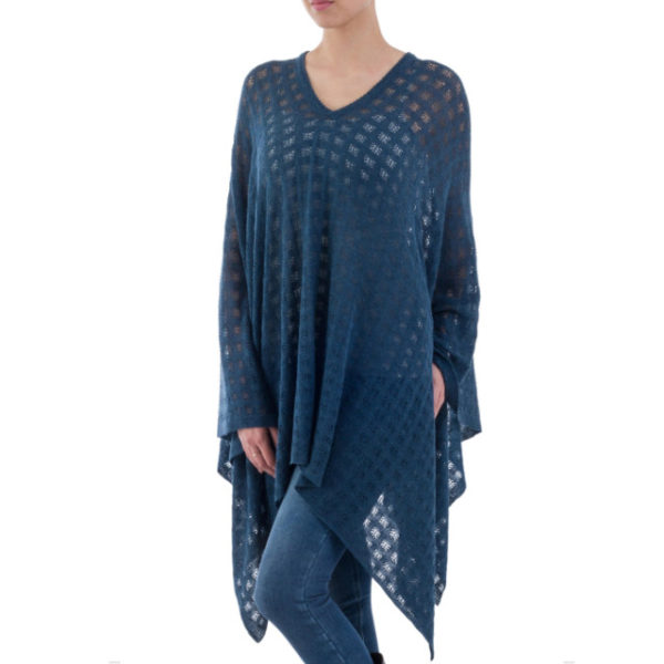 Drape yourself in the indigo blue folds of this poncho blended with baby alpaca fleece.