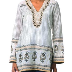 Fair trade Cotton Block Print Tunic with Beadwork and Sequins from GoodCreations.nz