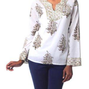 Fair Trade Cotton Block Print Tunic Beadwork Sequins Zari from GoodCreations.nz