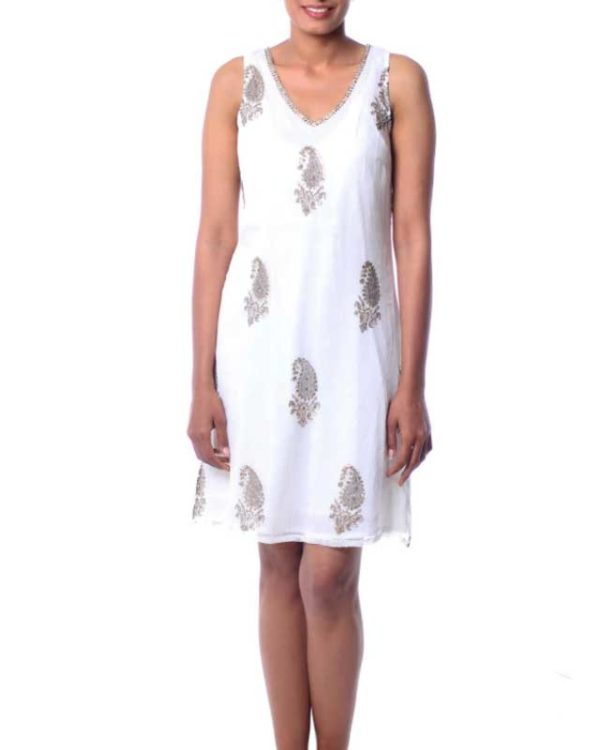 White viscose embellished sheer dress with cotton lining