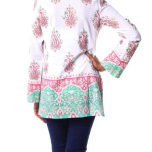 Cotton Block Print Tunic with Beadwork and Sequins