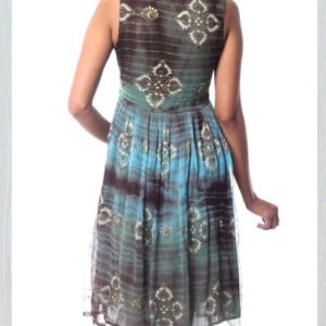 Shibori-Dyed Green and Brown Embellished Dress with Sequins